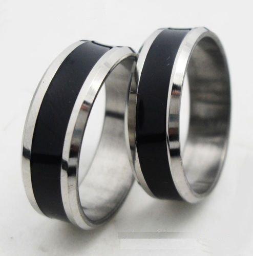 USA 2pcs black stainless steel couple ring set promise Engagement wedding rings