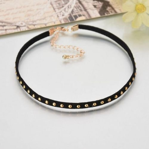 Retro Simple BLack Velvet Leather Clavicle Collar Choker Necklace Chain