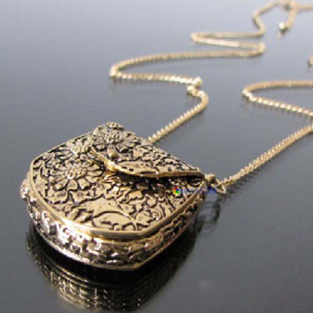 USA Magic Vintage Unique Bag Box Shape Carved Locket Pendant Long Chain Necklace