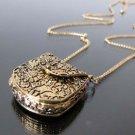 USA Magic Vintage Unique Bag Box Shape Carved Locket Pendant Long Chain Necklace