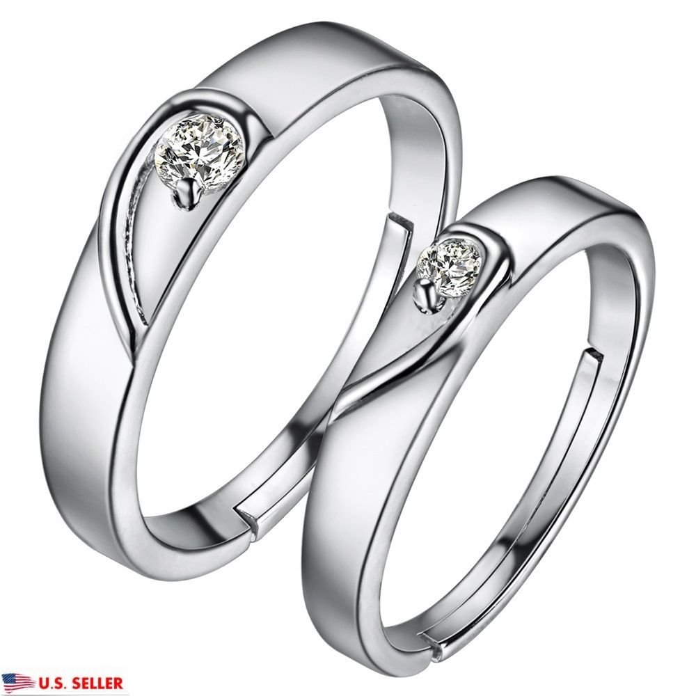 925 Silver Plated Romantic Heart Shape Zircon Adjustable Couple Matching Rings
