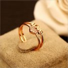 Lady Adjustable Cubic Zirconia Heart Shaped Rings Love Letter Double Circle Ring