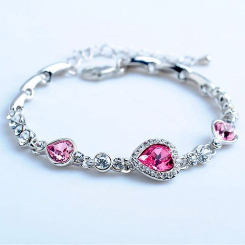 USA Fashion Women Lady Royal Pink Heart Crystal Rhinestone Bangle Bracelet