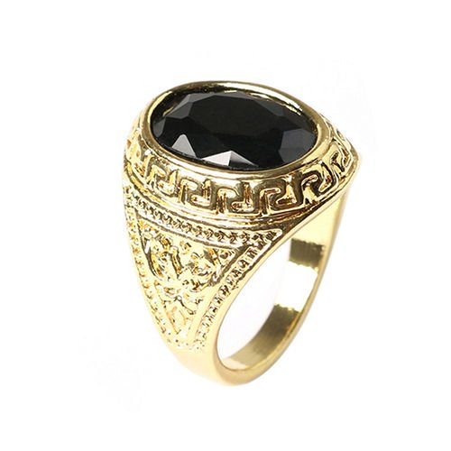 USA Men Women Unisex Retro Black Geometric Resin Carved Golden Alloy Ring