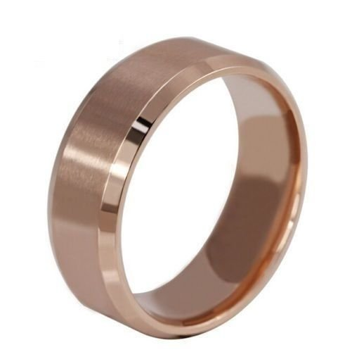 USA Women 8MM Rose Gold Tungsten Carbide Beveled Edges Promise Wedding Ring Band