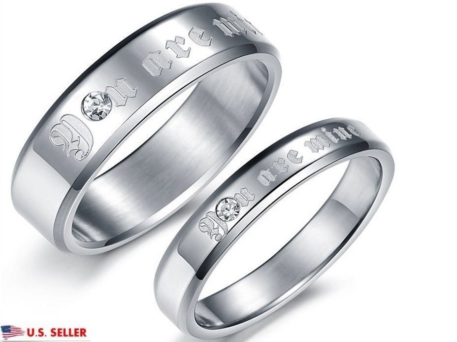 USA 2PCS You are Mine Silver Stainless Steel Couple Ring Promise Wedding Rings