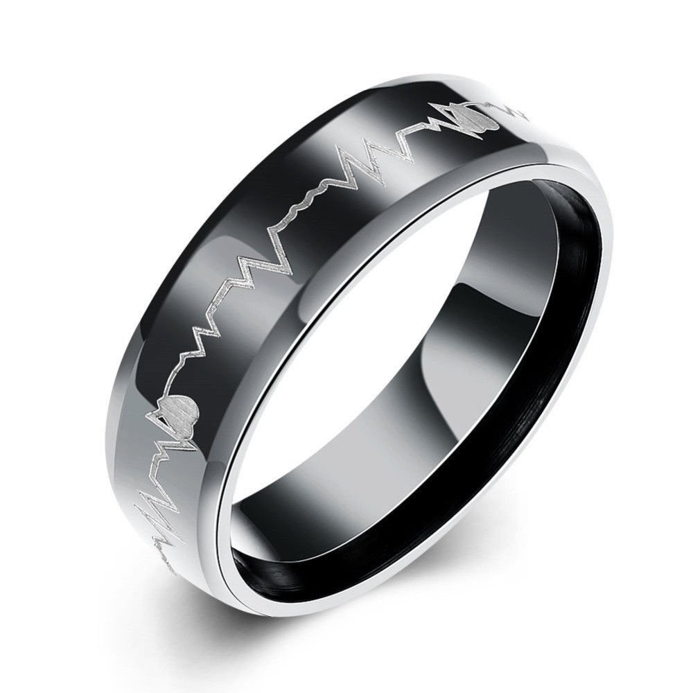 USA 6mm Black Tone Tungsten Heartbeat Cardiogram Wedding Engagement Ring Band