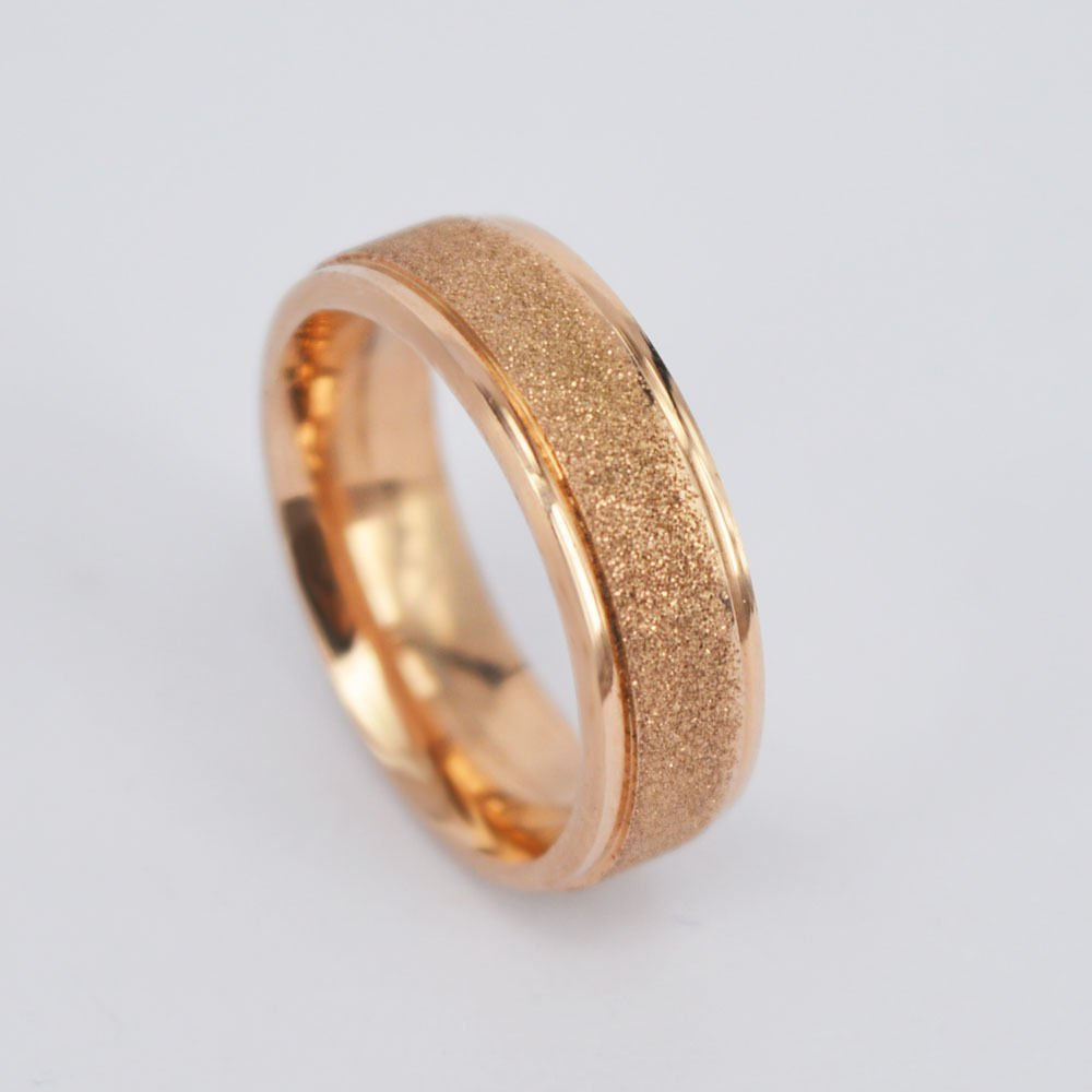 USA 18K Rose Gold Frosted Ring Her Promise Engagement Wedding Ring Band
