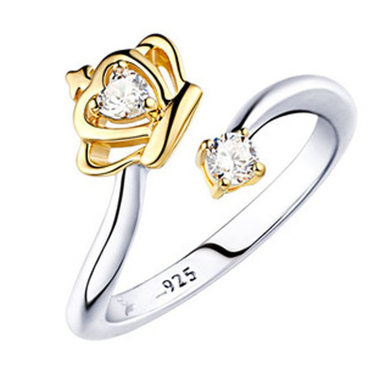 Woman 925 Silver Plated Crown Open Adjustable Ring Fashion Austrian Crystal Ring