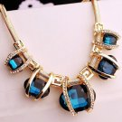 USA Fashion Oval Blue Bib Necklace Choker Snake Chain Statement Crystal Pendant