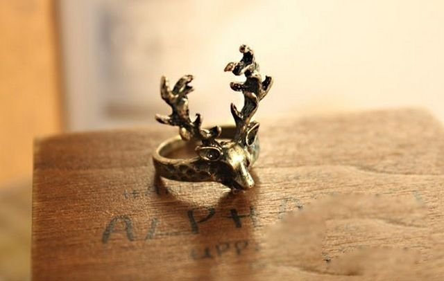 Fashion Gothic Punk Style Women Bronze Sika Deer Finger Ring Charm Retro Finding