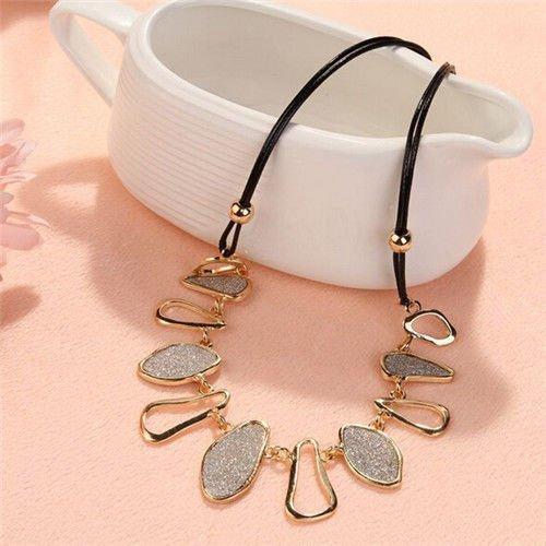 Elegant Geometric Matte Chunky Charms Chain Choker Bib Statement Collar Necklace