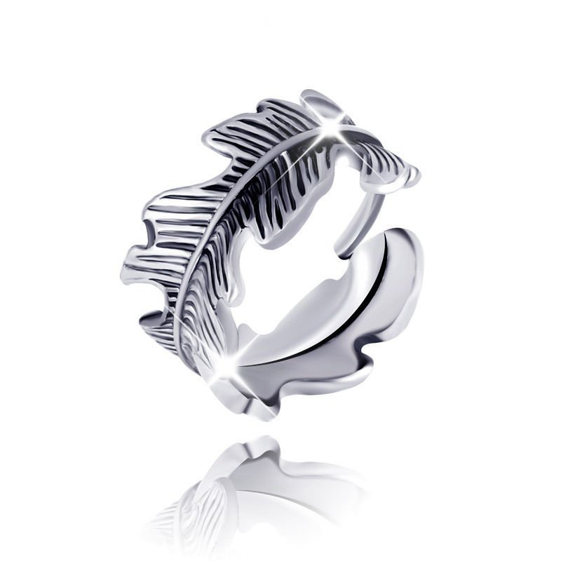 1Pcs Women Lady Vintage Style Golden or Silver Leaf Feather Crown Ring Jewelry