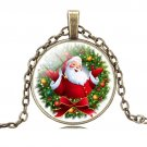 Christmas Gift Bronze Chain Glass Cabochon Santa Claus Chain Anime Necklace