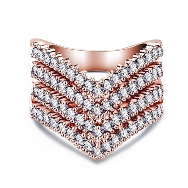 USA Rose Gold/Silver Plated Austrian Crystal Fashion Women Wedding Promise Ring