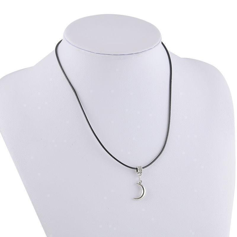 USA Unisex Simple Silver Moon Crescent Pendant Choker Black Leather Cord