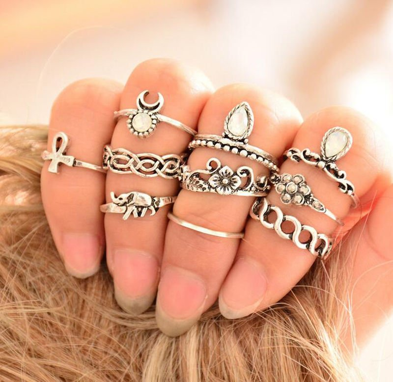 10pcs Women Punk Vintage Knuckle Rings Tribal Ethnic Hippie Stone Midi Ring Set