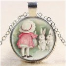 USA Cute Little Girl And Bunny Rabbit Glass Silver Plated Chain Pendant Necklace