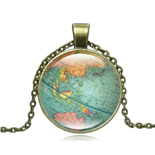 USA Vintage Glode Planet Earth World Map Cabochon Glass Pendant Necklace