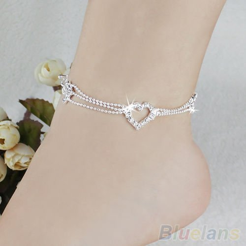 USA Silver Plated Bead Heart Shape Anklet Ankle Bracelet Chain Crystal Jewelry