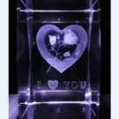 3D Laser Etched Crystal Paperweight I Love You Figure Display with Light Base