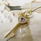 Trendy Elegant Heart Silver Color Crown Key Purple Crystal Rhinestone Necklace