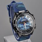 MeiShi Stainless Steel Navy Blue Silicone Military Quartz Men Wrist Watch Gifts