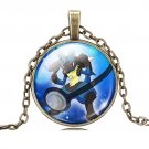 USA Pokemon Go Glass Cabochon Lucario Necklace Pendant Dome Chain Charm Fashion