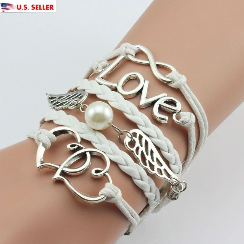 USA Owl Anchor Wing Heart Shape Love Infinity Multicolor Woven Leather Bracelet