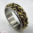 USA Free Shipping 7MM Gold Chain Stainless Steel Engagement Promise Ring Band