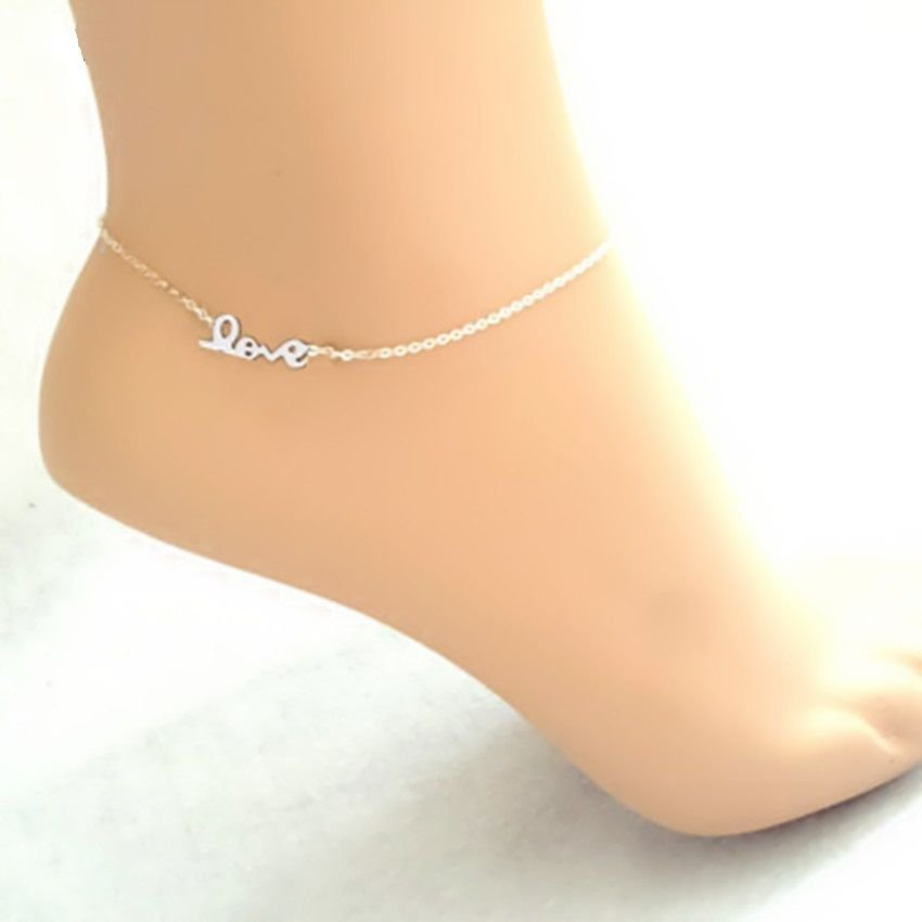 USA Silver Plated Love Letter Anklet Chain Ankle Charm Bracelet Foot Jewelry