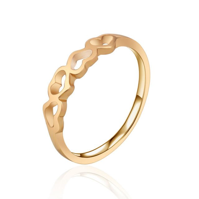 USA 18K Gold Plated Hollow Out Retro Heart Totem Flower Jewelry Ring Size 6