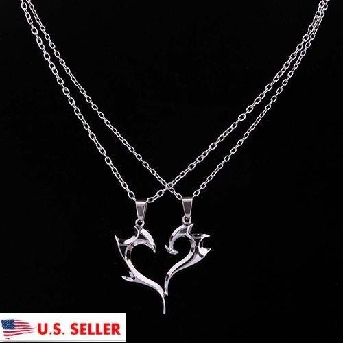 USA Silver Plated Unique Magic Wand Design Heart Shape Pendant Couple Necklace