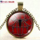 USA Marvel Superhero Glass Cabochon Bronze Chain SpiderMan Necklace Pendant