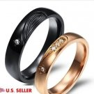 2 PCS Heart Shape Stainless Steel Couple Ring Promise Wedding Matching Rings