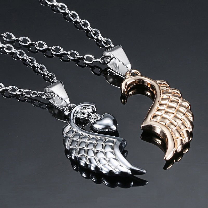 USA Fashion 2PCS Angel Wings Heart Shape Couple Pendant Necklace Jewelry Gift