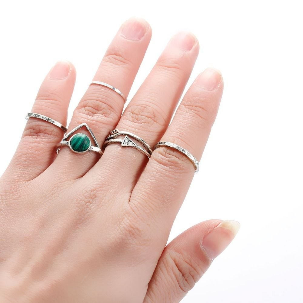 5PCS Bohemian Women Knuckle Midi Rings Antique Silver Color Arrow Malachite Gem