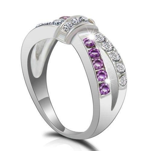Elegant Women Jewelry Purple Amethyst Criss Cross Finger Ring Women Wedding Ring