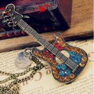 USA Women Rhinestone Guitar Pendant Long Bronze Chain Necklace Fashion Jewelry