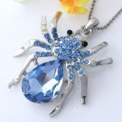 USA Silver Plated Blue Crystal Rhinestone Spider Bead Charm Pendant for Necklace