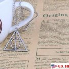 USA Harry Potter Necklace Deathly Hallows Silver Triangle Pendant Sweater Chain
