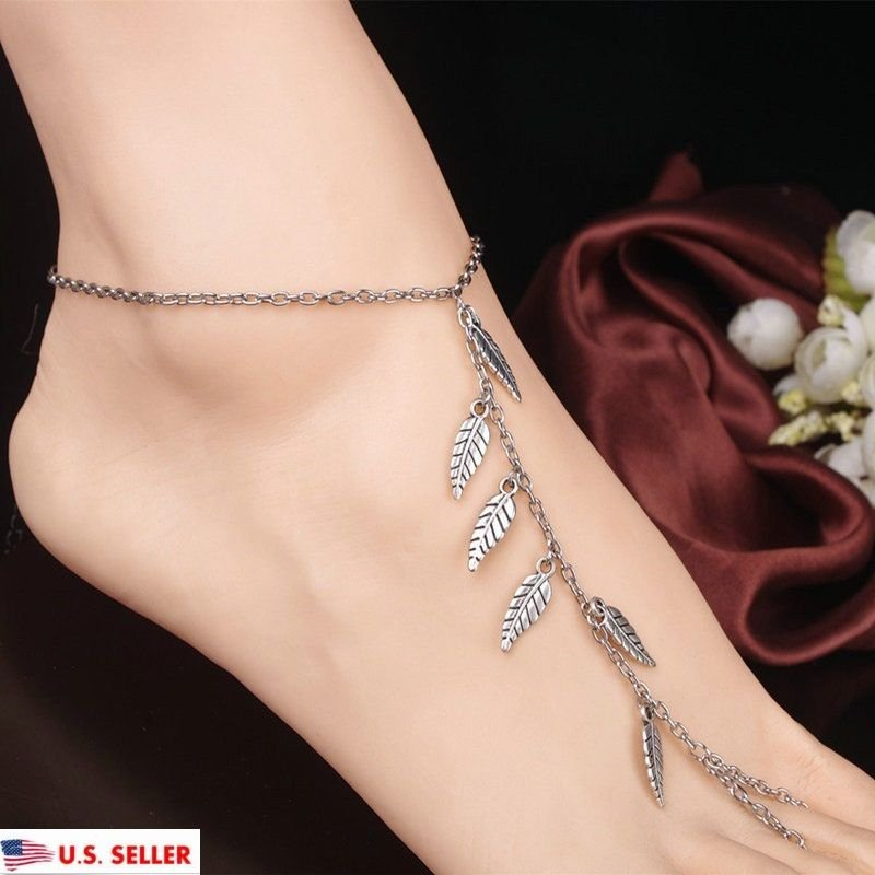 USA Sexy Silver Leaf Anklet Chain Ankle Bracelet Barefoot Sandal Foot Jewelry
