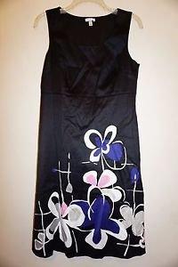 Semantiks sleeveless dress black with blue, pink, white floral print sz 4 EUC
