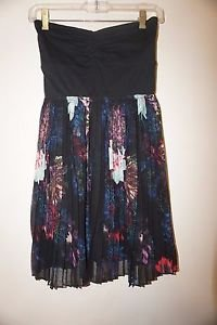 Roxy strapless dress black cotton top with pleated floral skirt size S NWT