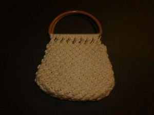 Women's vintage handmade crochet knit purse cream color with brown handles EUC