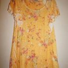 Suki Jones women's short-sleeve blouse yellow-gold w/ floral print sz M NWOT