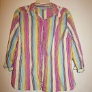 I.E. Relaxed women's long-sleeve button-front shirt multicolor stripes sz 1X EUC