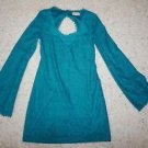 JC Penney lsenboye womens dress teal green lace long sleeve back cutout NWT