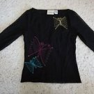 Womens Michael Simon black top embroidered butterflies pink yellow blue sz S EUC