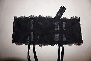 Victoria's Secret Designer Collection black lace waist cincher garter sz M/L NWT
